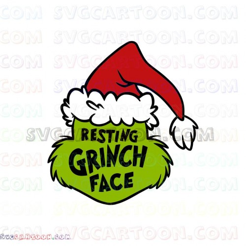 The Grinch SVG Files Resting Grinch Face Design Christmas.