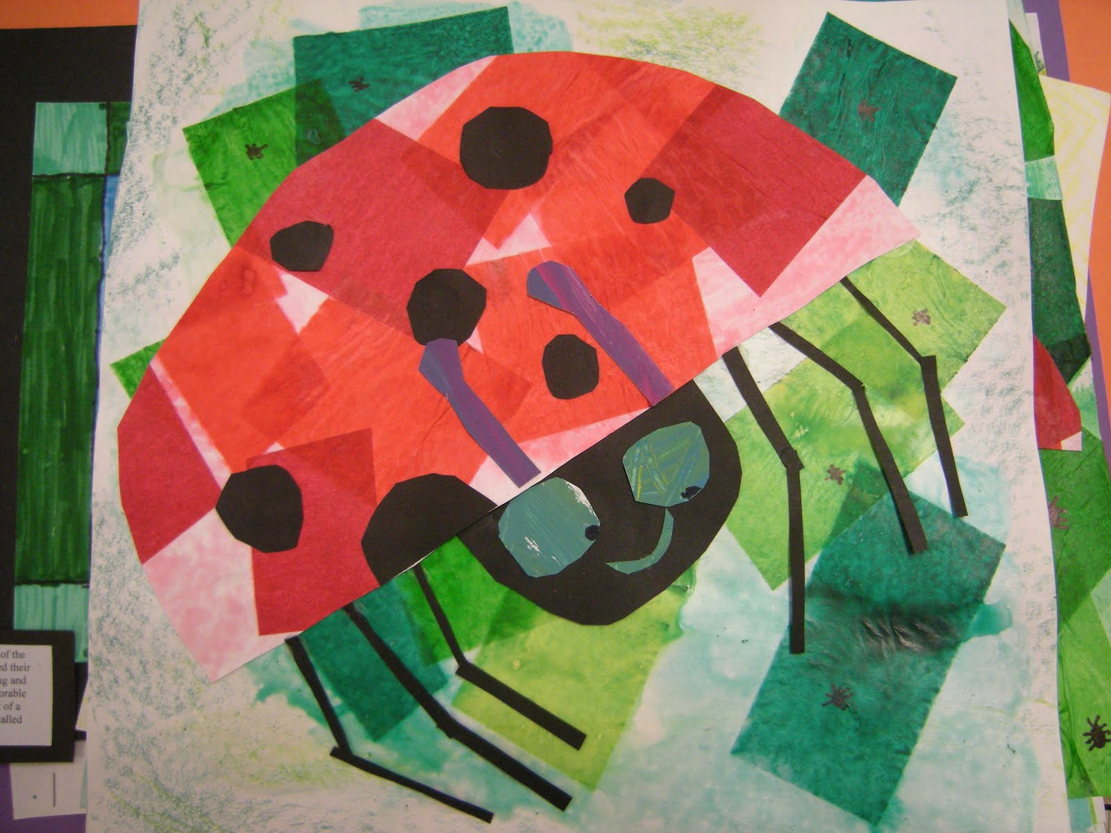 In art class, we read the story The Grouchy Ladybug by Eric Carle.