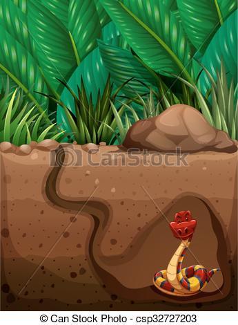 Vector Clipart of Snake living under the ground illustration.