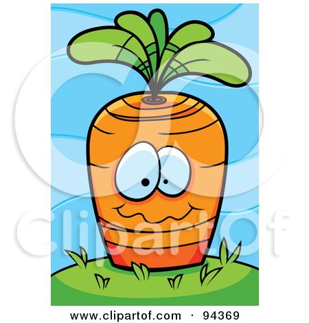 Cartoon Clipart Of A Black And White Carrot Face Planted in the.