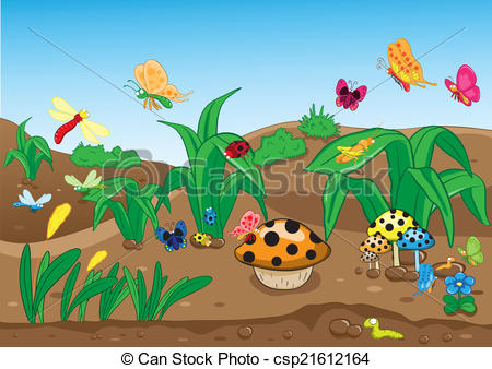 Clip Art Vector of Insects family on the ground.