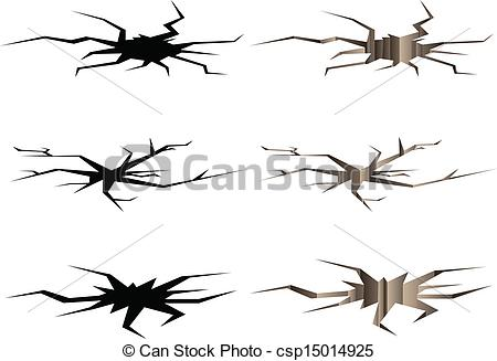 Vector Illustration of Crack set in ground with silhouettes.