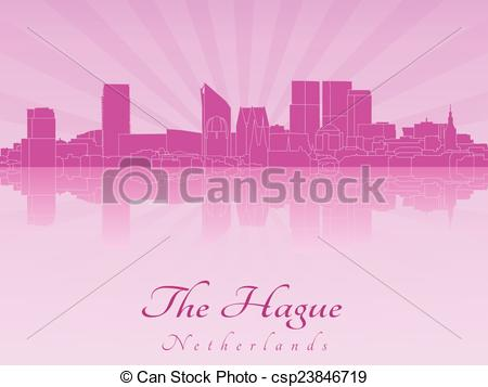 Vector Clip Art of The Hague skyline in purple radiant orchid in.