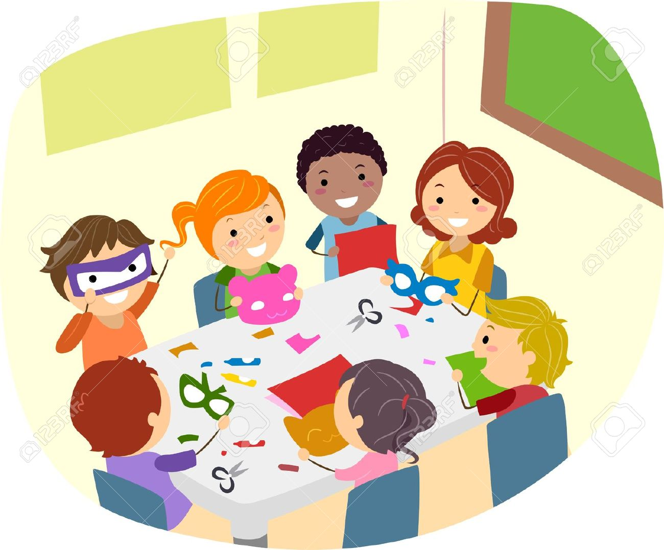 Illustration Of Kids Making Paper Crafts Stock Photo, Picture And.
