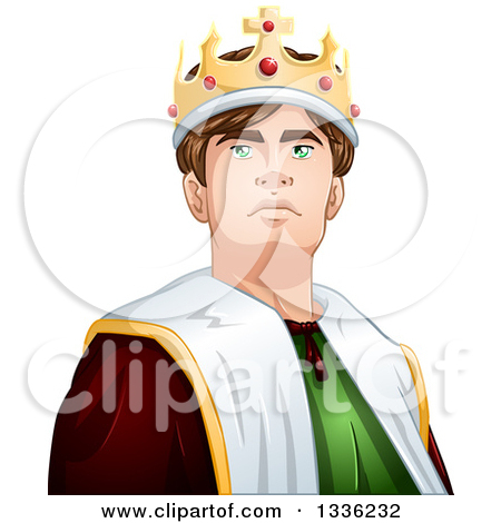 Clipart of a Cartoon Handsome Brunette Young White Male King from.