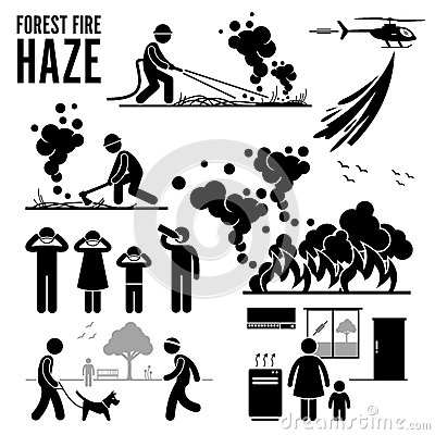 Forest Fire And Haze Problems Pictogram Cliparts Stock Vector.
