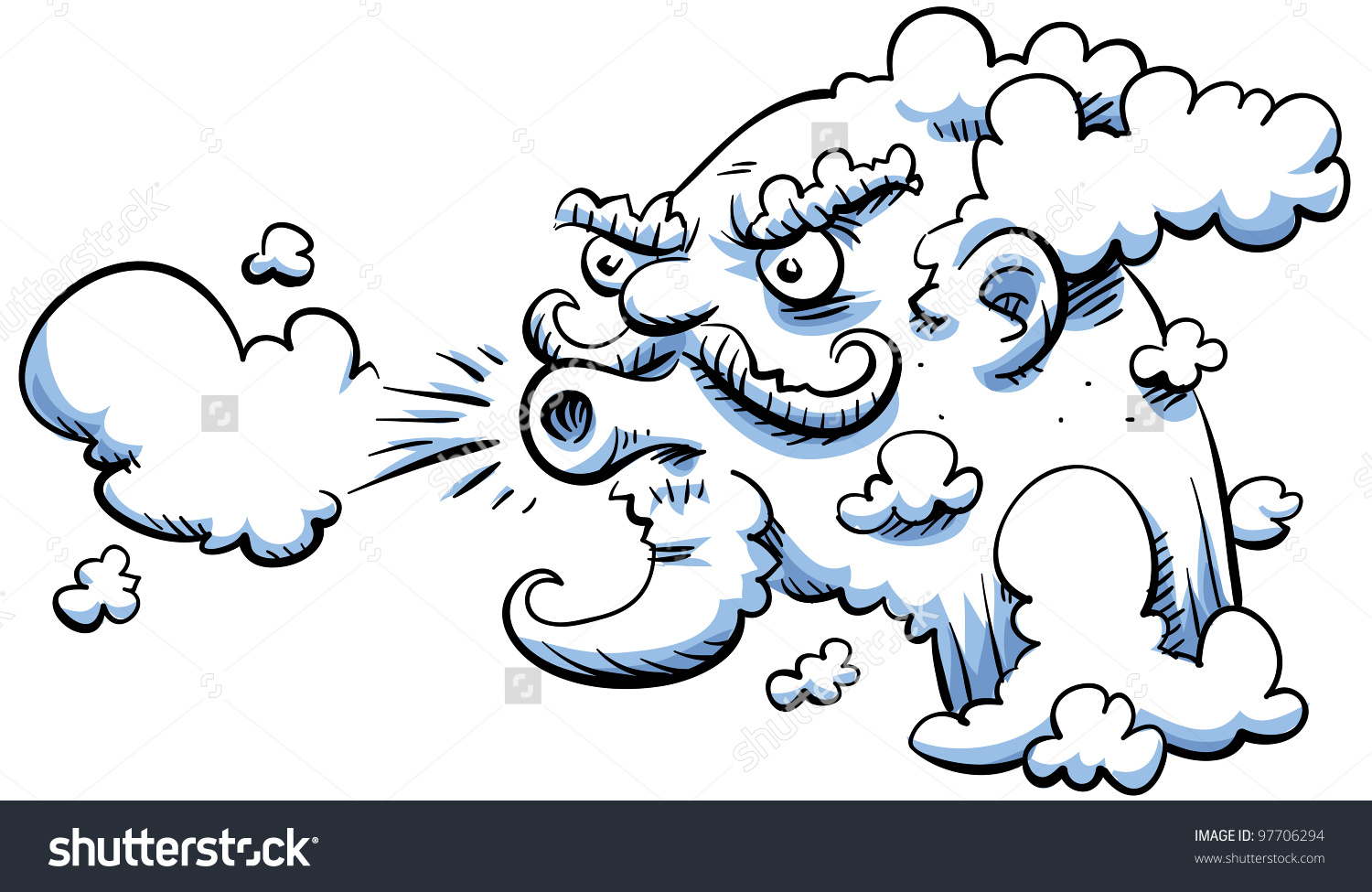 Cartoon Wind Blows Stock Illustration 97706294.