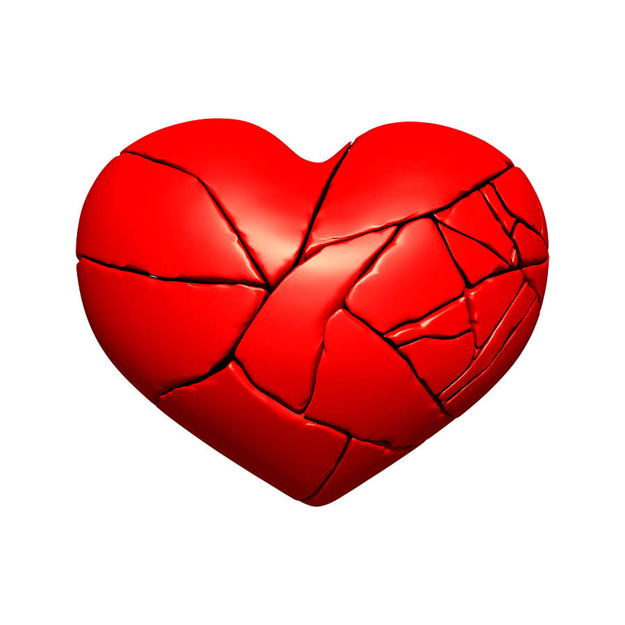 Clipart of broken heart.