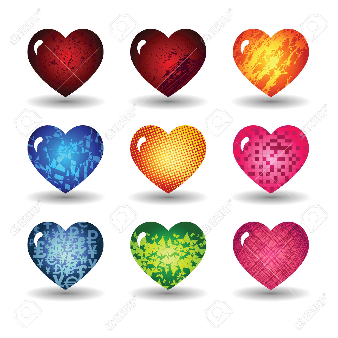 Set The Hearts Of Valentine's Day Royalty Free Cliparts, Vectors.