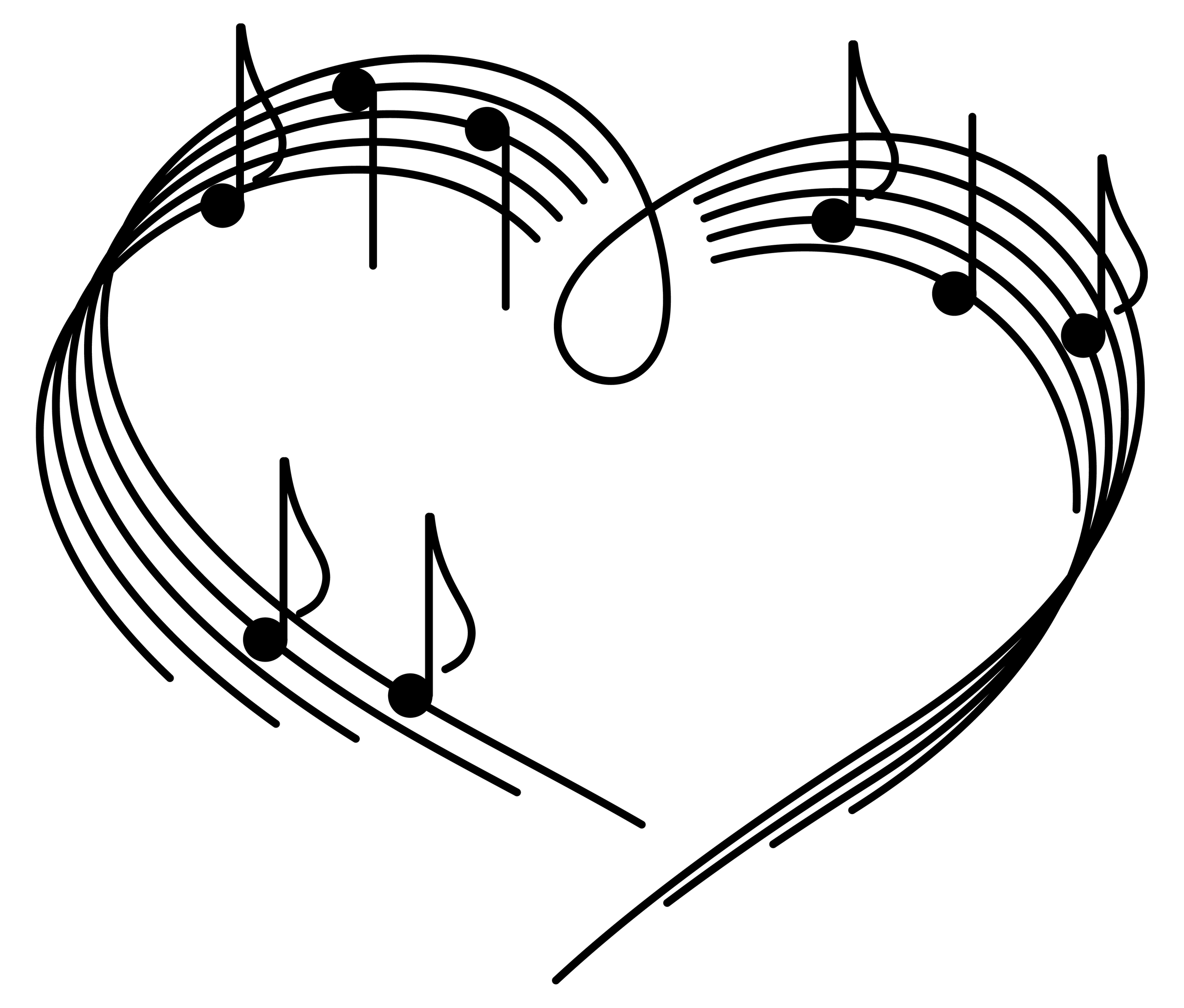 Hearts With Music Staff Clipart.
