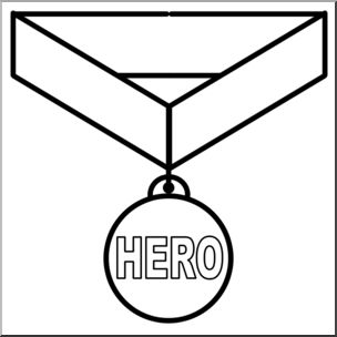 Clip Art: Hero Award B&W.