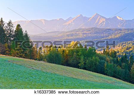 Stock Image of Dawn over The High Tatras. The Carpathian Mountains.