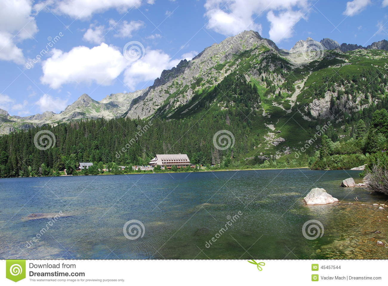 Poprad Lake In The High Tatras Stock Photo.