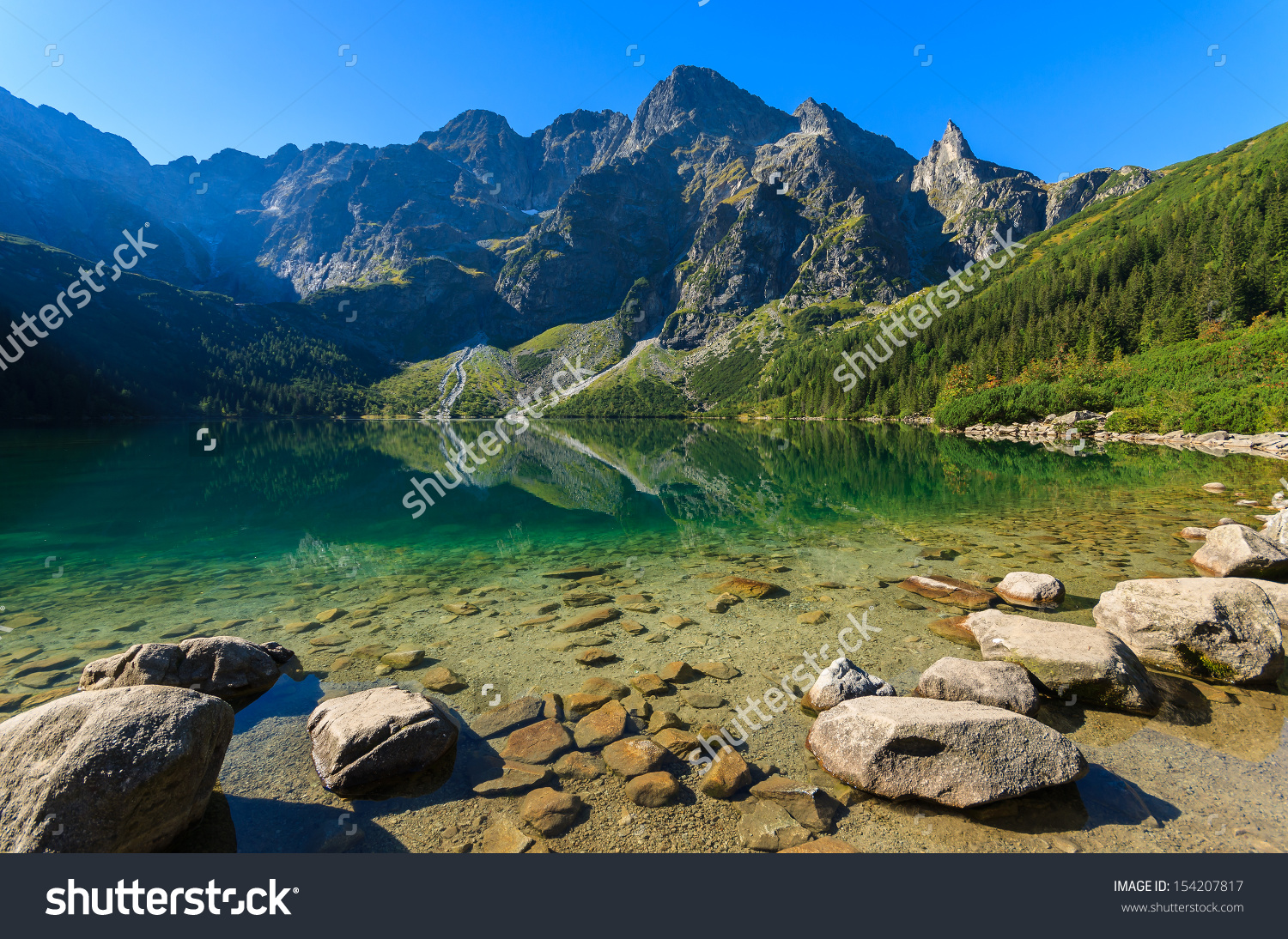 Beautiful Morskie Oko Green Water Alpine Stock Photo 154207817.