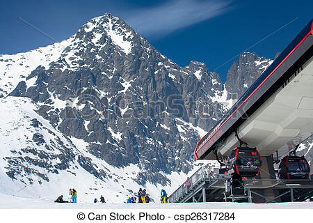 Pictures of Modern cableway at High tatras, Slovakia.