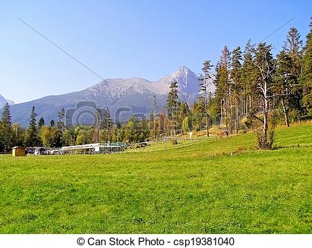 Stock Photo of Bobsled track in the High Tatras.