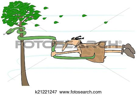 Stock Illustration of Caveman in a high wind k21221247.