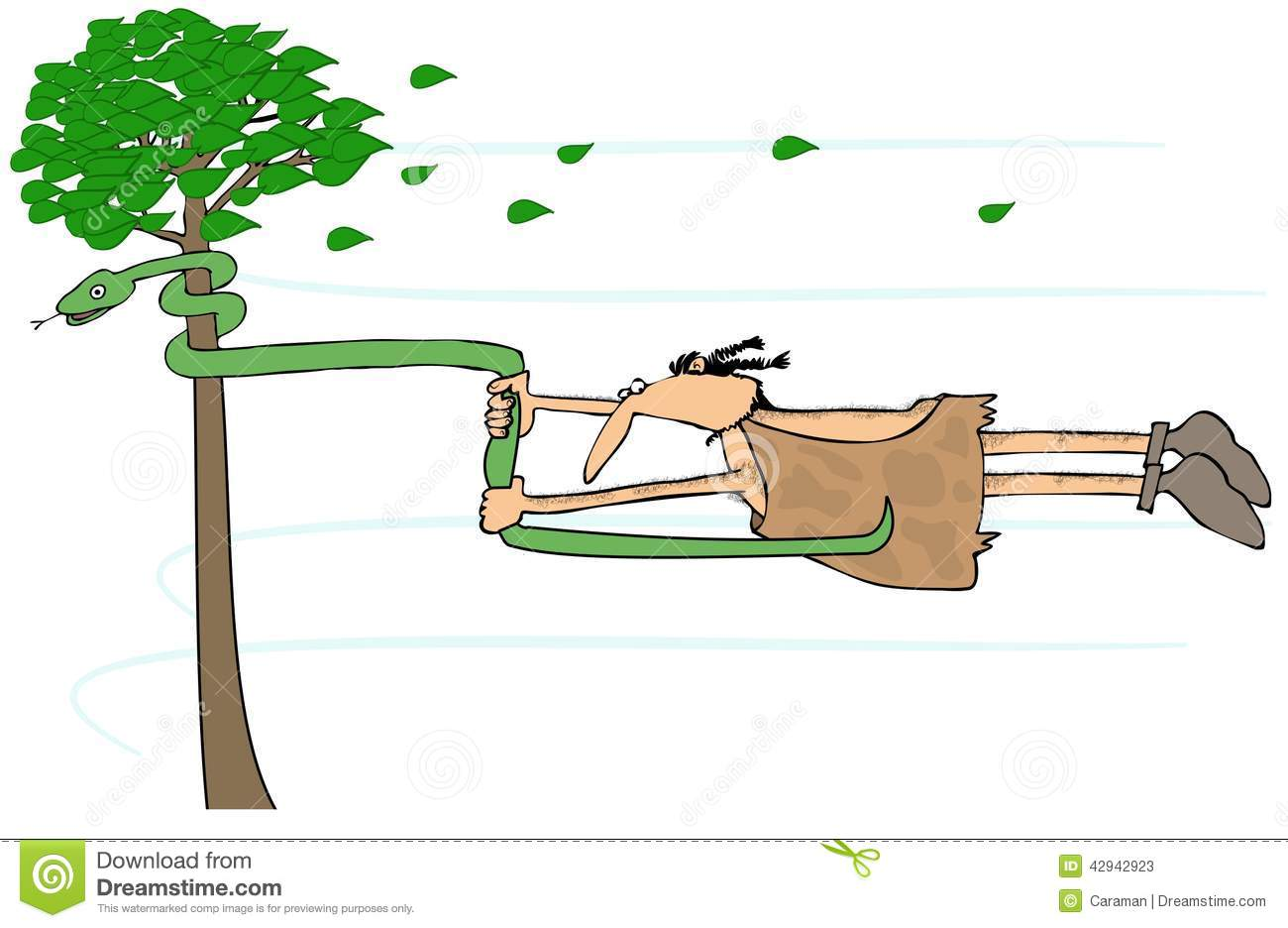 Caveman In A High Wind Stock Illustration.