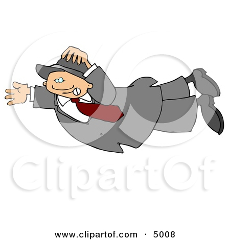 Clipart Man Holding Onto A Flag Pole In High Winds.