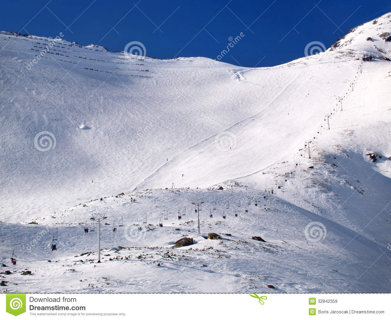 Highest Ski Slope In High Tatras Royalty Free Stock Images.