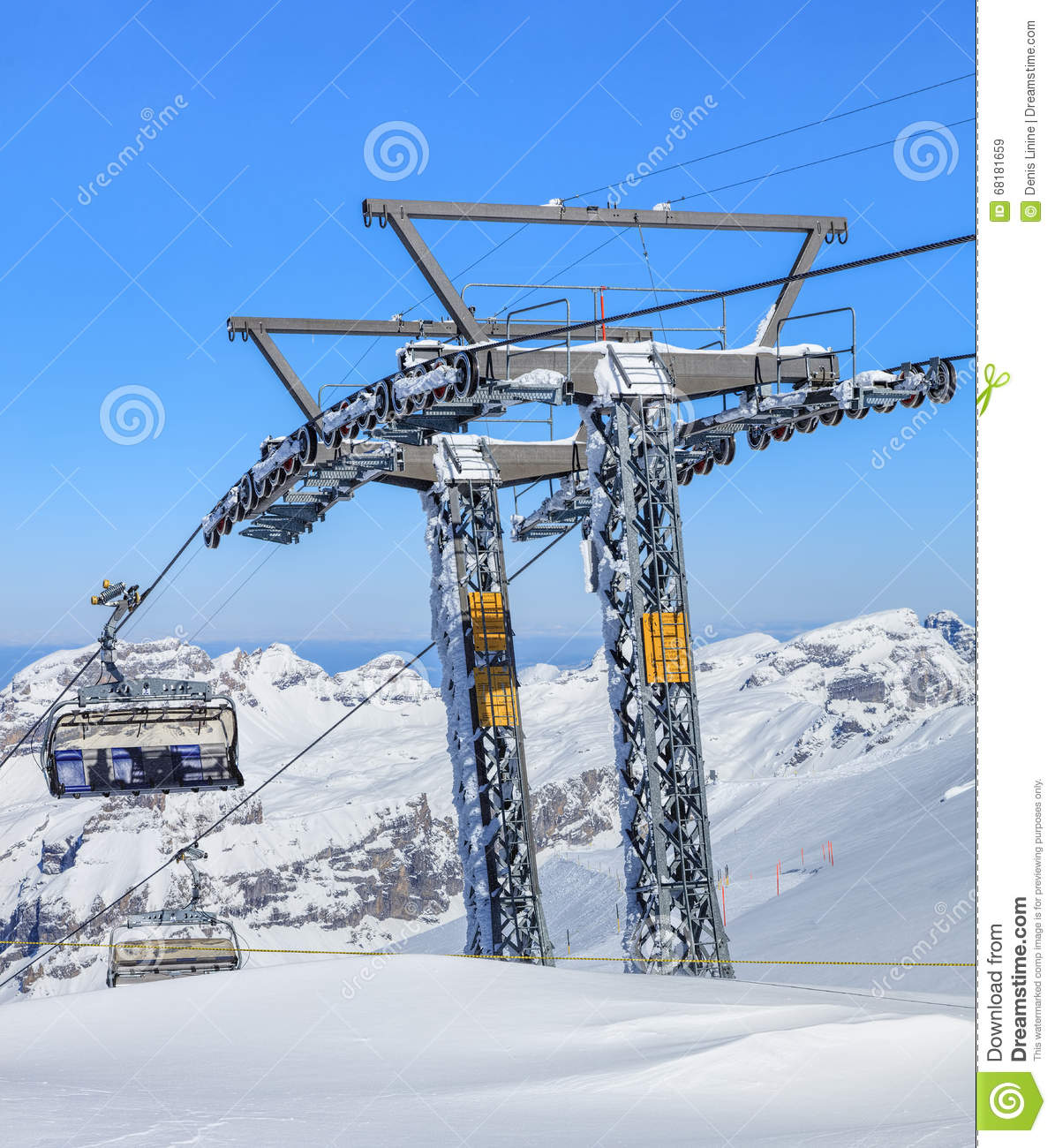 Ice Flyer Ski Lift On Mt. Titlis In Switzerland Editorial Stock.