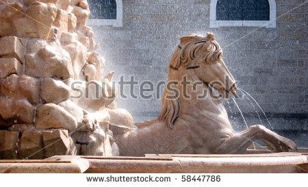 Closeup Of The Horse Fountain, Residenzplatz, Salzburg, Austria.