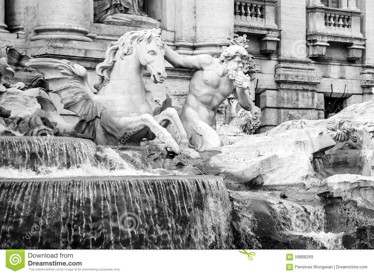 Triton With The Horse Calm Statue At The Trevi Fountain Stock.