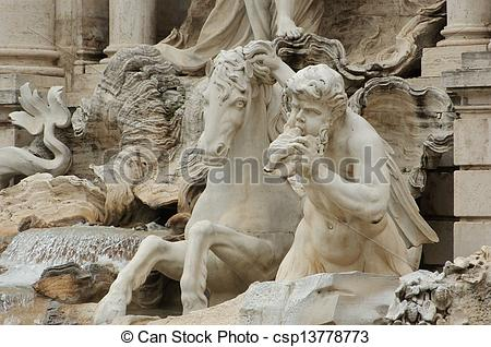 Stock Illustrations of Horse and Angel at Trevi Fountain.