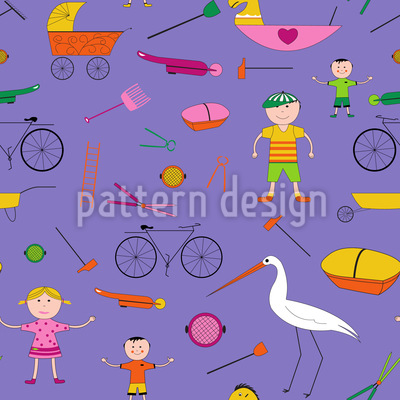 Hustle and Bustle of Children Repeat Pattern.