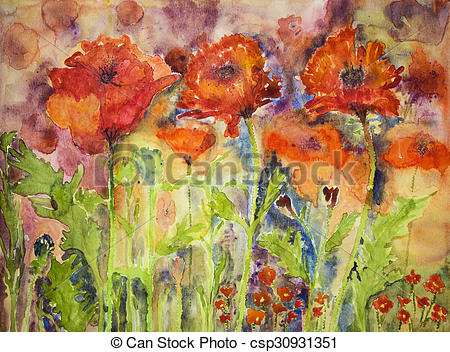 Stock Illustrations of Hustle and bustle of red poppies. The.