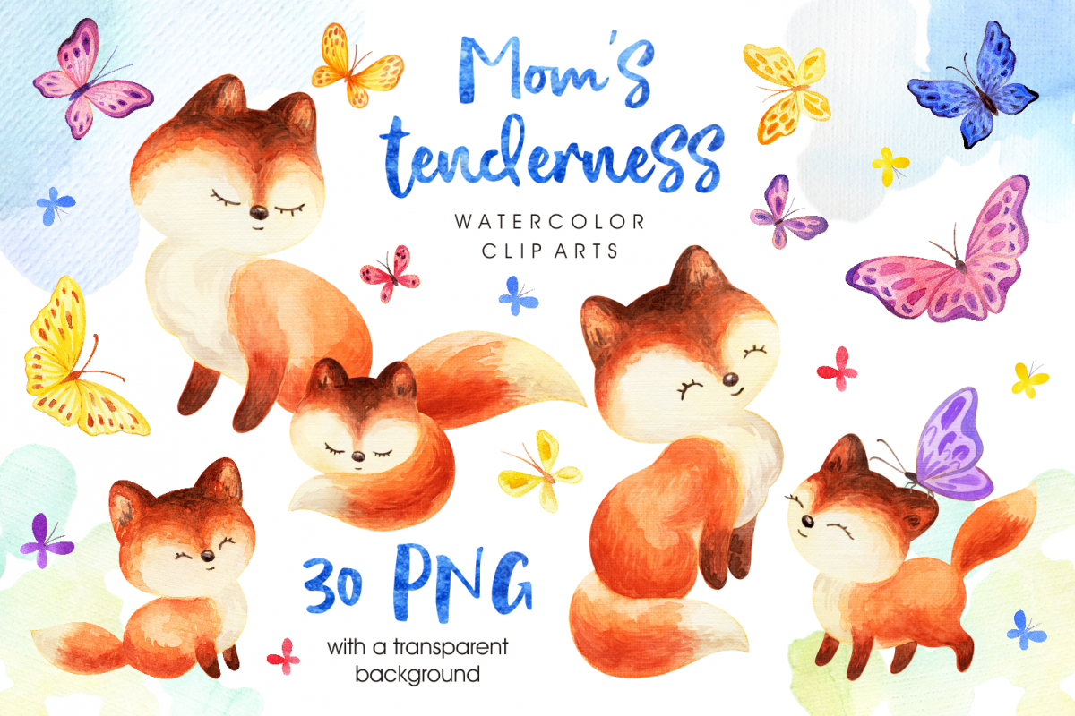Moms tenderness. Watercolor foxes and butterflies.