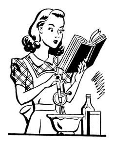 black and white 50\'s housewife clip art.