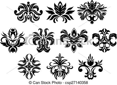 Clipart Vector of Retro ornamental flowers with dainty.