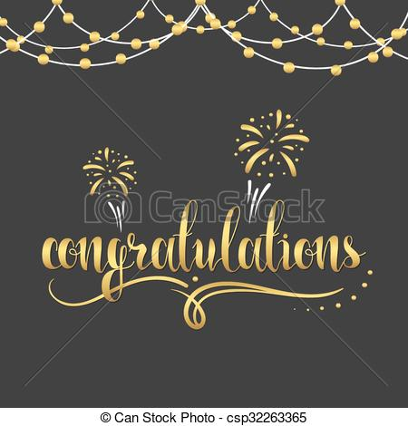 Clip Art Vector of Inscription Congratulations in gold color.