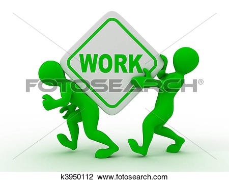 Clip Art of People with box with the inscription work k3950112.