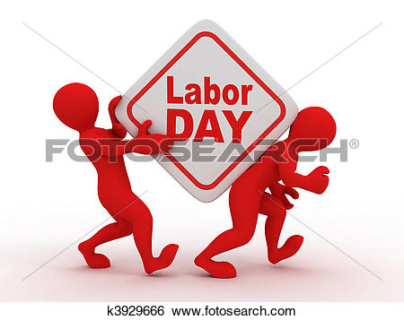 Stock Illustration of People with box with the inscription labor.