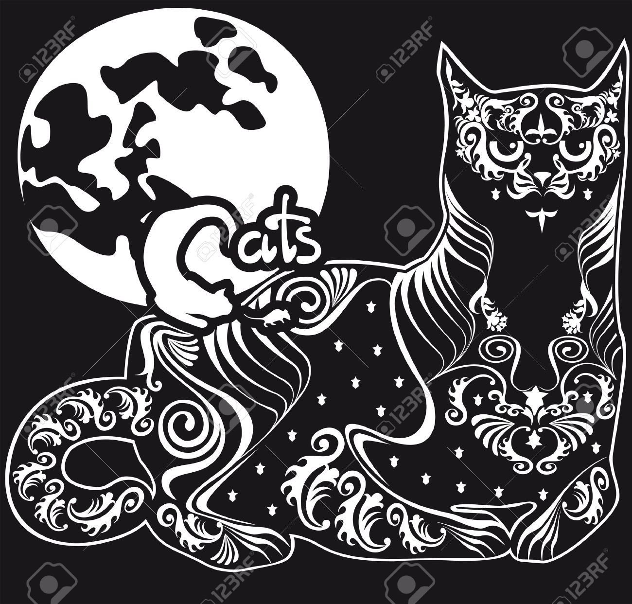 Lying Black Cat Against The Moon, The Inscription And Symbols.