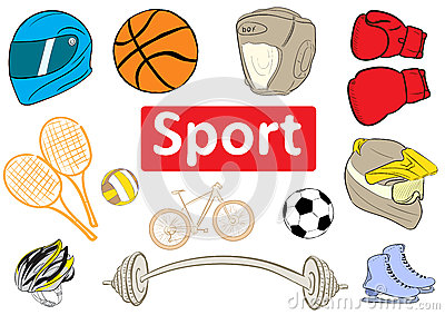 Clipart With Inscriptions Sport Stock Vector.