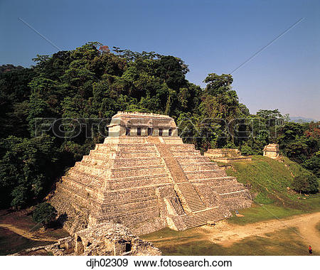 Stock Photograph of Temple of the Inscriptions Ancient Mayan Ruins.