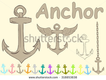Clipart With Various Anchors Wings And Inscriptions Stock Vector.