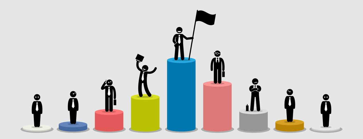 Many different businessman standing on bar charts comparing.