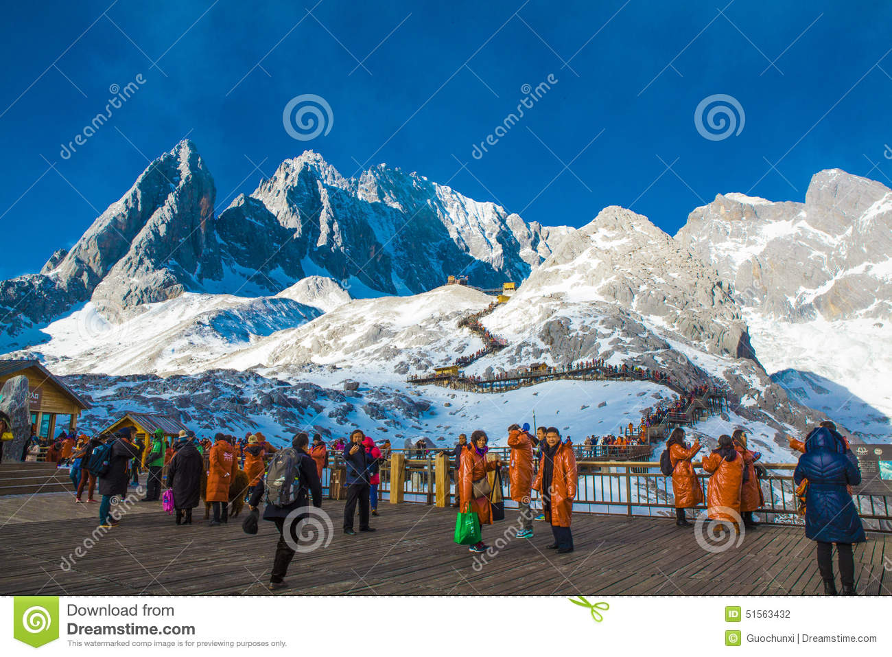 Groups Of Traveler On Jade Dragon Snow Mountain Editorial.