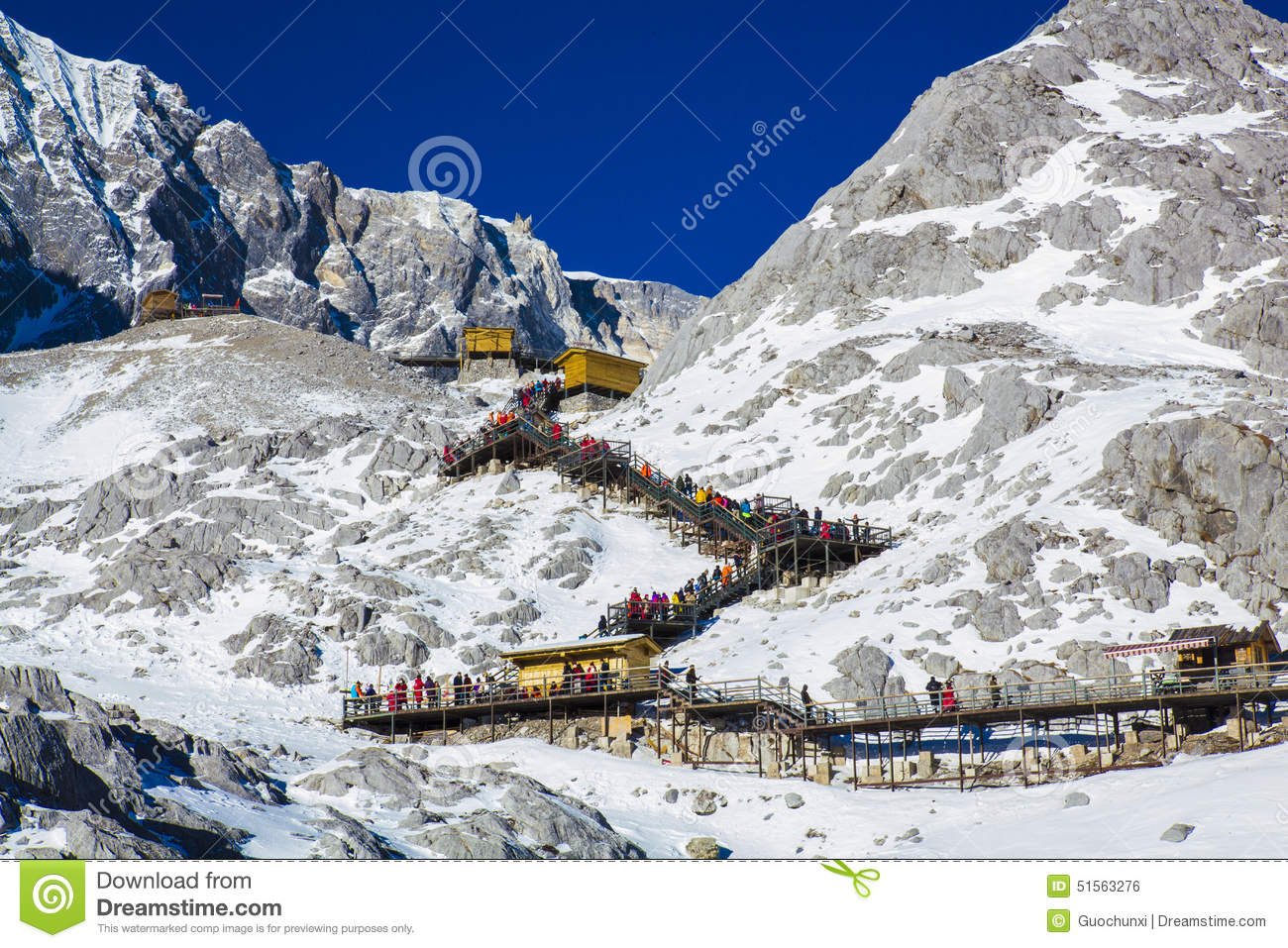 Groups Of Traveler On Jade Dragon Snow Mountain, Editorial Stock.