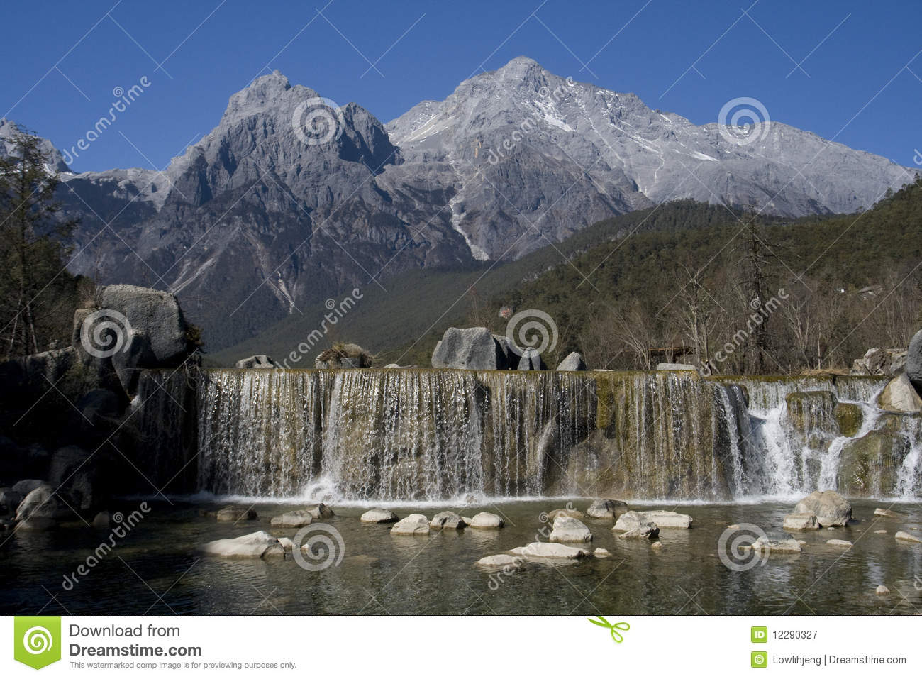 Waterfall At Jade Dragon Snow Mountain Royalty Free Stock.