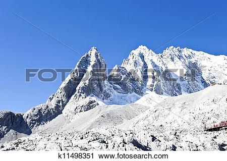 Stock Photography of Jade Dragon Snow Mountain in Lijiang, Yunnan.
