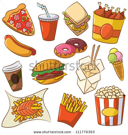 Junk food vs healthy food clipart.