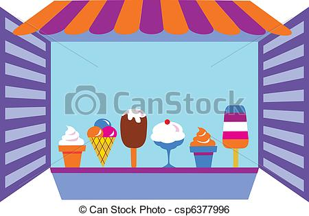 Clip Art Vector of kiosk that selling ice creams , vector.