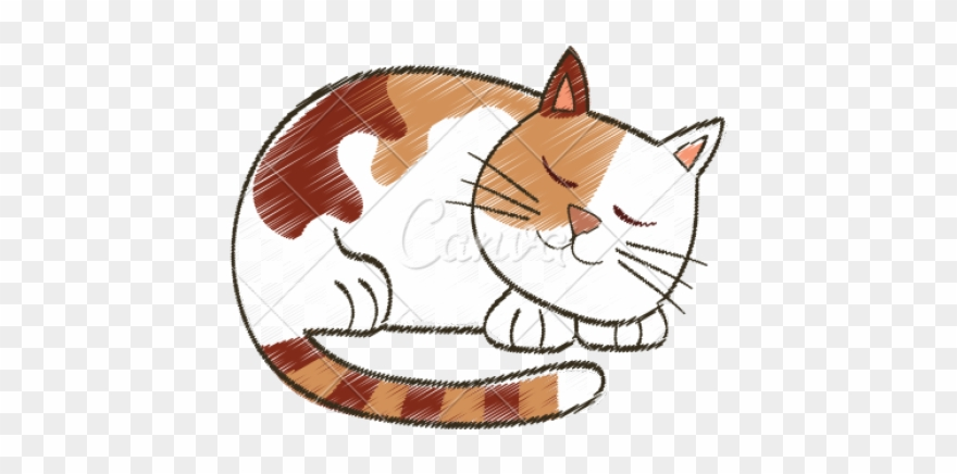 Drawn Kitten Cute Sleeping Cat Clipart (#2966369).