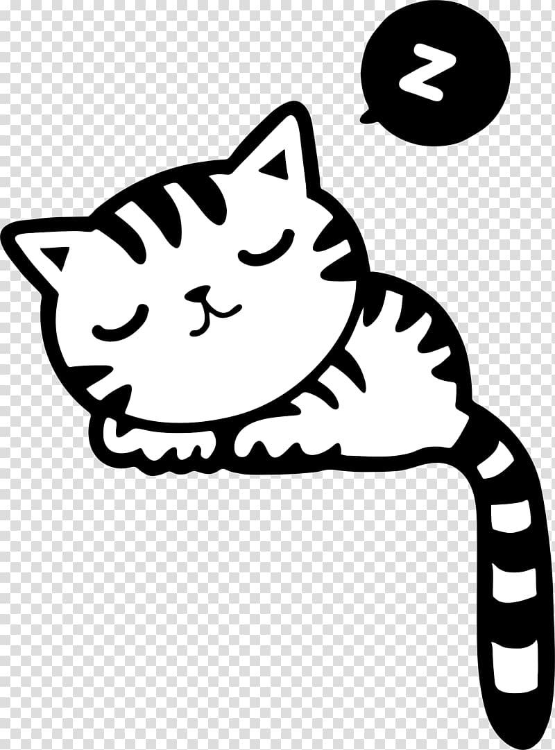 Black and white cat sleeping illustration, Cat Kitten.