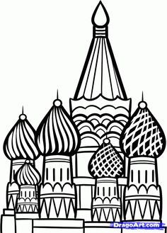How to Draw the Kremlin, Moscow Kremlin, Saint Basil Cathedral.